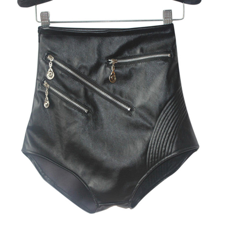 Female High Waist Shorts Faux Leather - Zorket