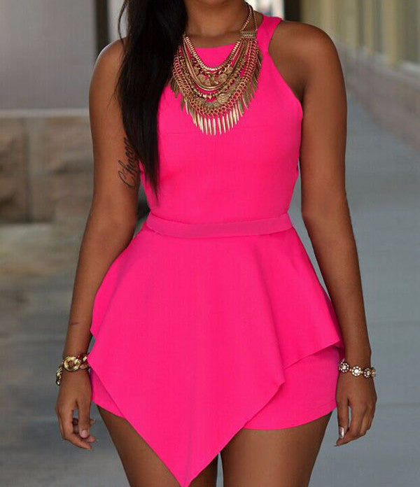 Romper – Women's Elegant Black Or Pink Sleeveless Romper | Zorket