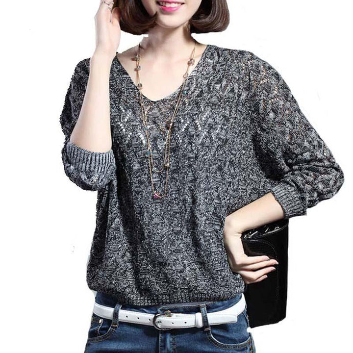 Women's Casual Loose Thin  V-Neck Spring Sweater