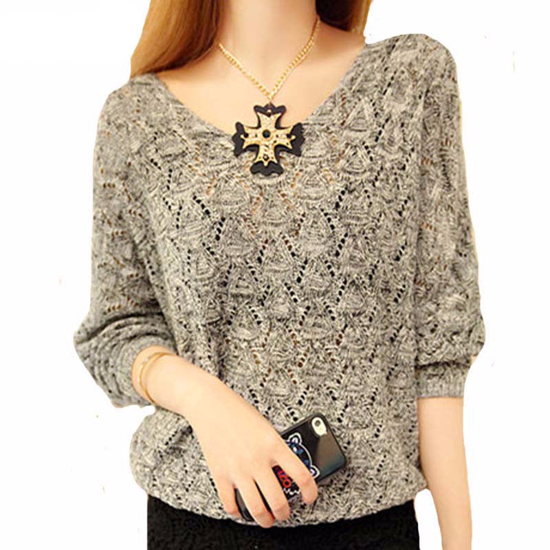 Women's Casual Loose Thin  V-Neck Spring Sweater - Zorket