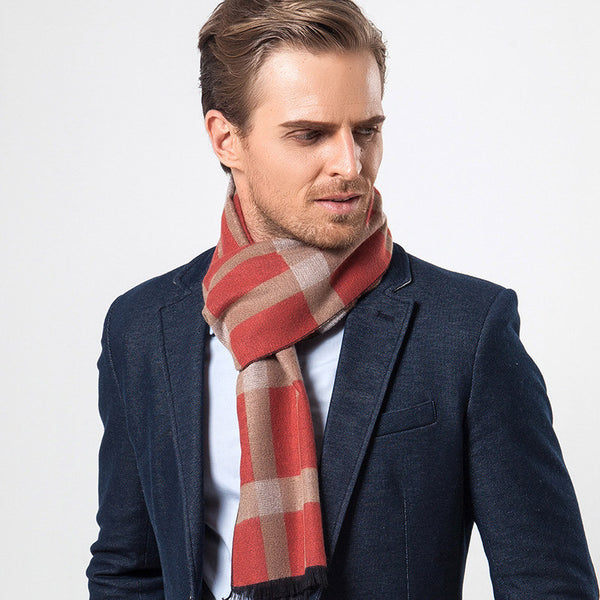 Scarf – Men's Winter Cashmere Plaid Scarf | Zorket