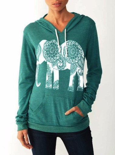 Hoodies & Sweatshirts – Autumn Сasual Women's Hooded Sweatshirt With A Picture The Elephant | Zorket
