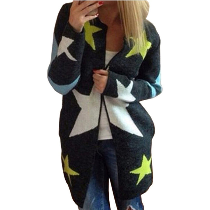 Female Long Cardigan With Stars Pattern - Zorket