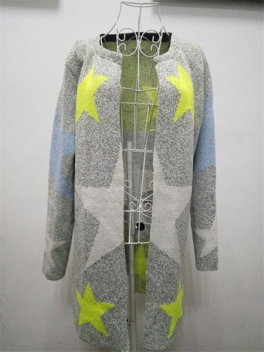 Female Long Cardigan With Stars Pattern