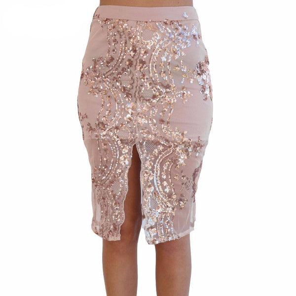 Skirt – Women's Gold Sequin Elegant Pencil Skirt | Zorket