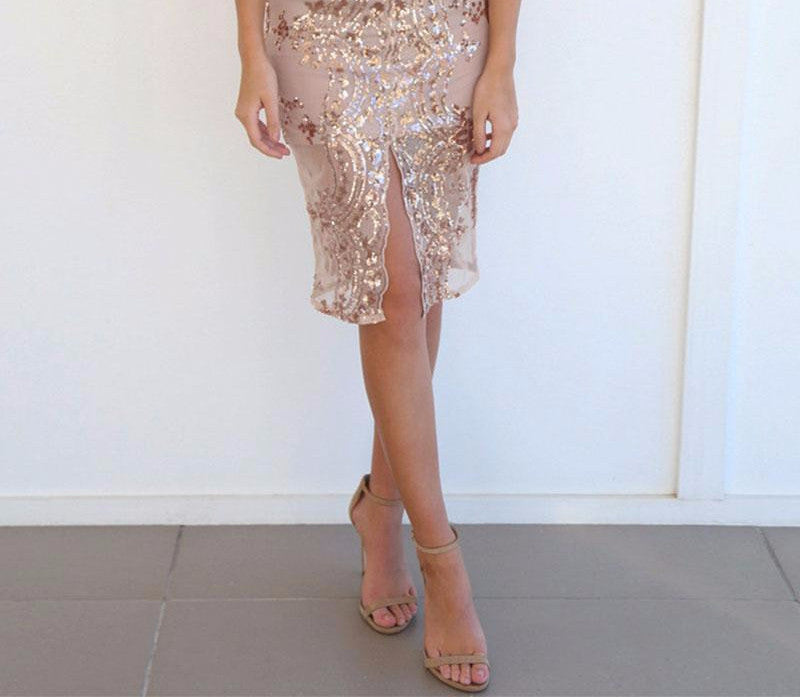 Women's Gold Sequin Elegant Pencil Skirt - Zorket