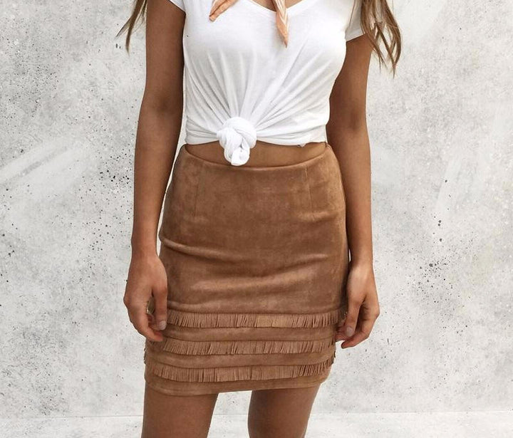 Suede Pencil Skirt In Retro Style - Zorket