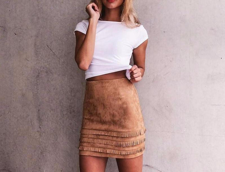 Suede Pencil Skirt In Retro Style