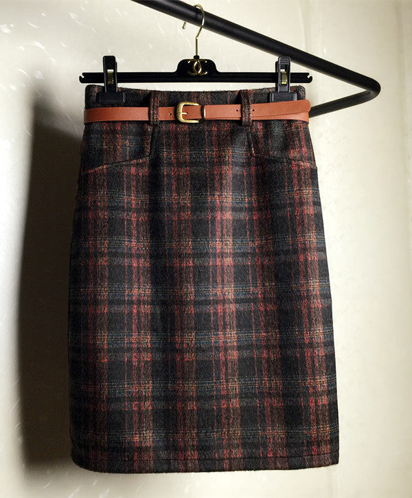 Autumn/Winter Thicken Woolen Plaid Skirt - Zorket