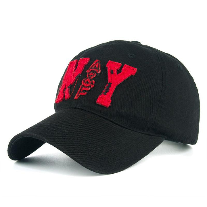 Cotton Baseball Cap With NY Embroidery For Men
