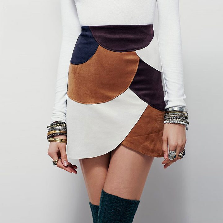 High Waist Patchwork Skirt of Cotton - Zorket