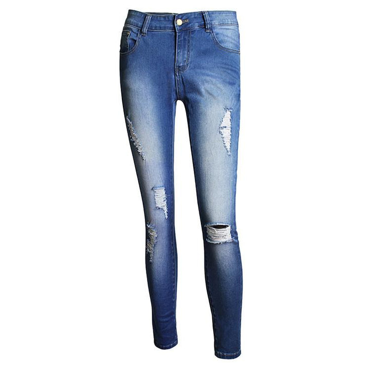 High Waist Women's Skinny Pencil Ripped Casual Jeans