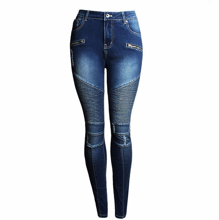 Women's Fashion Patchwork Stretch Slim Fit Ripped Denim Pants - Zorket
