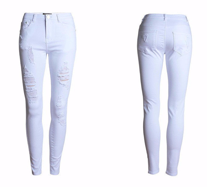 Women's Cotton Ripped Skinny Denim Pants - Zorket