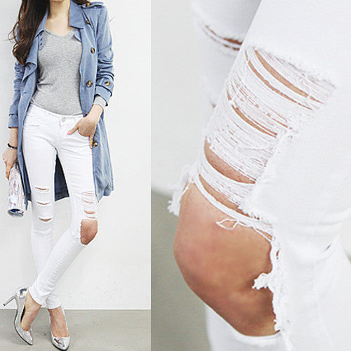 Women's Summer Fashion High Waist Ripped Slim Jeans - Zorket