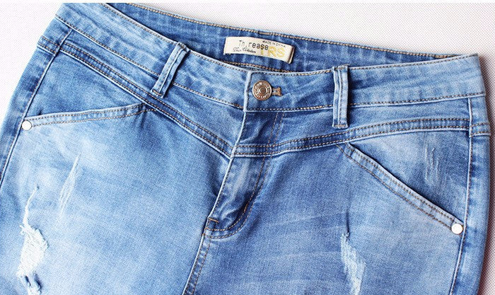 Women's Fashion High Waist Cotton Denim Jeans - Zorket