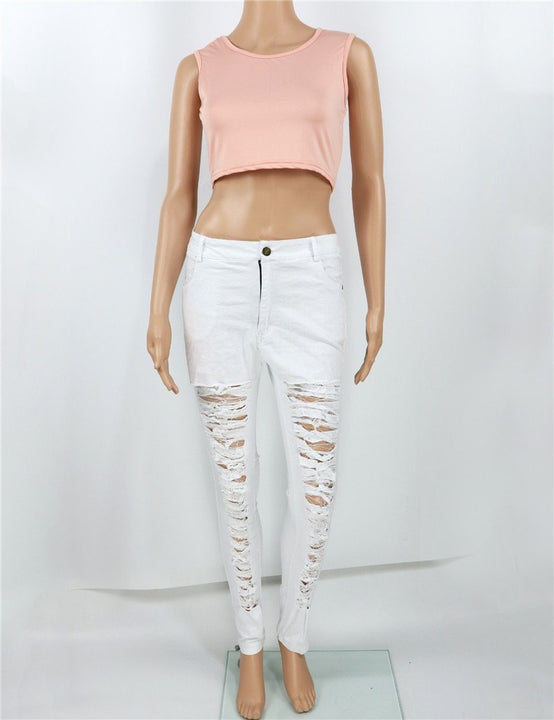 Ripped High Waist Skinny Jeans For Women