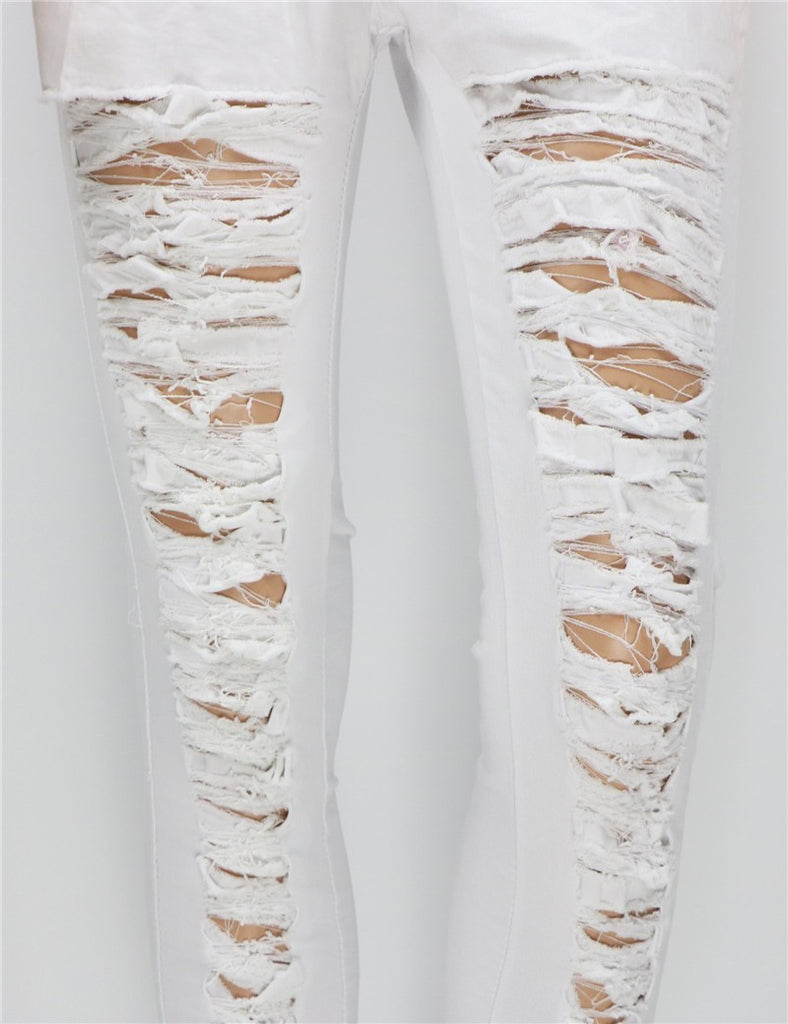 Ripped High Waist Skinny Jeans For Women - Zorket