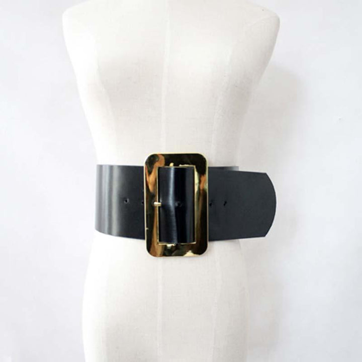 Female Metal Big Square Buckle PU Leather Belt