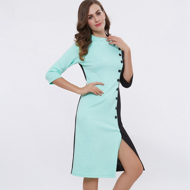 Bodycon Dress – Button Split Dress With O-Neck | Zorket