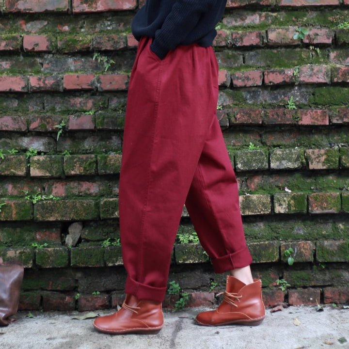 Cotton Loose Female Vintage Pants - Zorket