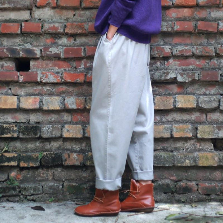 Cotton Loose Female Vintage Pants
