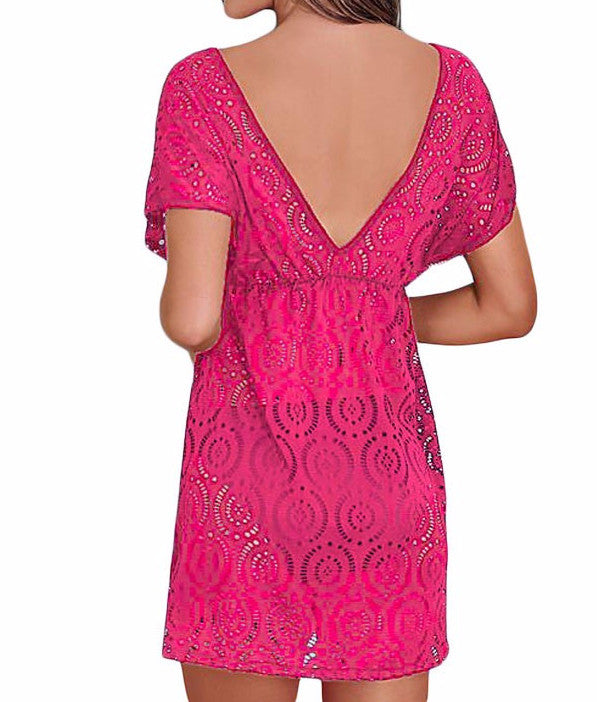 Summer Short Sleeve Lace Beach Dress - Zorket