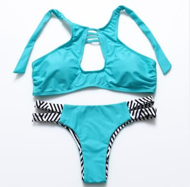 Summer High Neck Low Waist Beach Women's Bikinis Set - Zorket