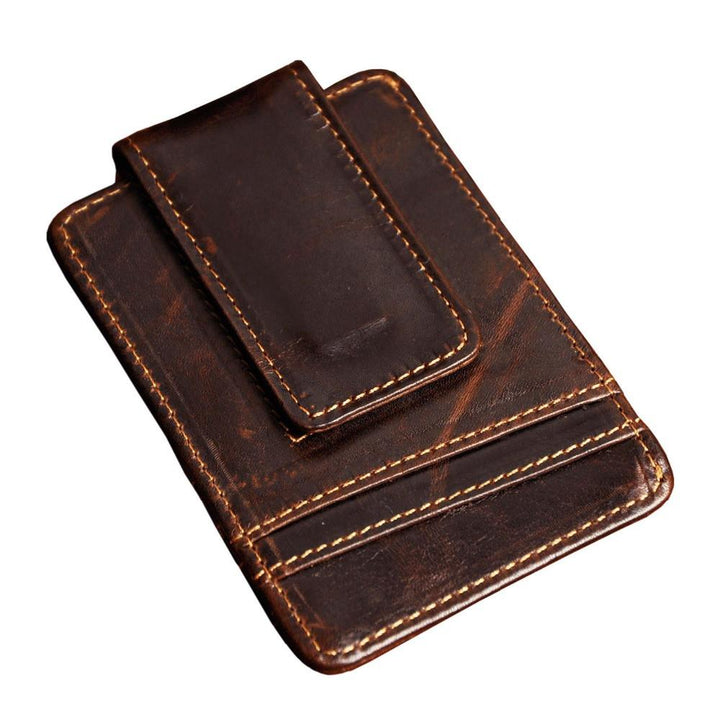Male Vintage Genuine Leather Money Clip With Card ID Case