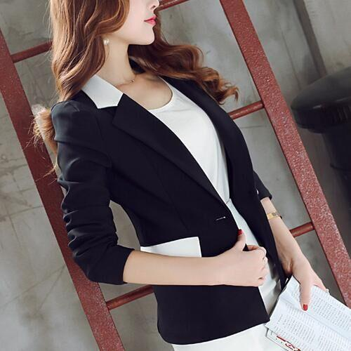 Women's Long-Sleeved Solid Color Blazer