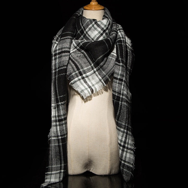 Winter Plaid Cashmere Women's Blanket Scarf - Zorket