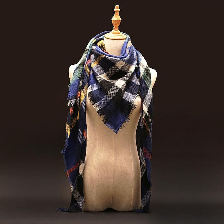 Winter Plaid Cashmere Women's Blanket Scarf
