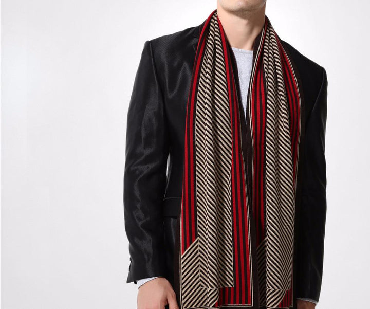 Male Wool Stripped Winter Scarf