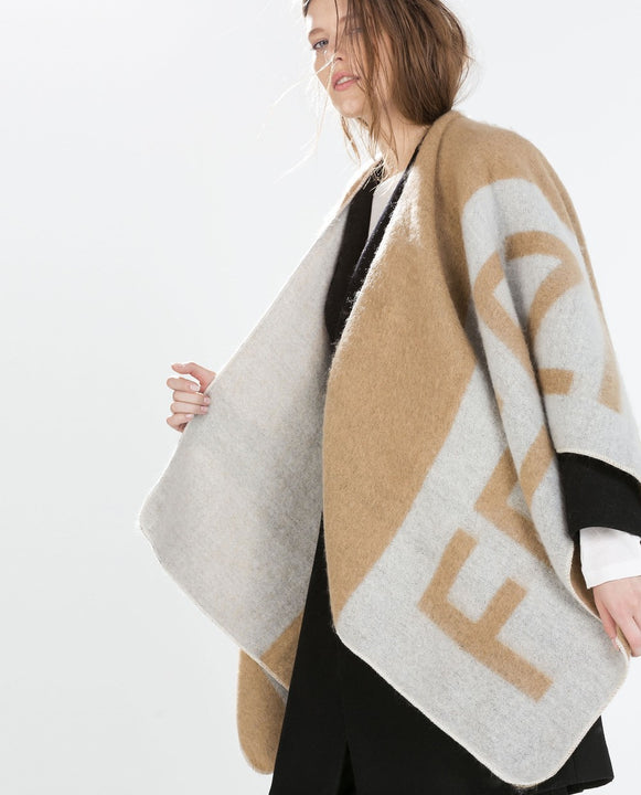 Women's Cashmere Wool Warm Winter Poncho - Zorket