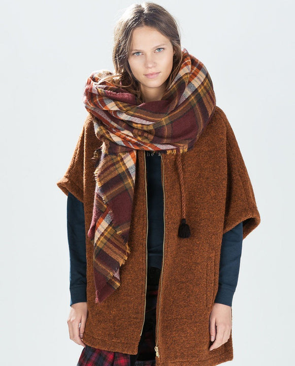 Cashmere Women's Plaid Thick Scarf