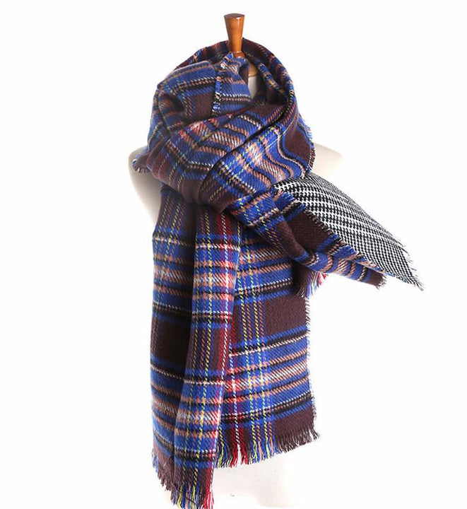 Cashmere Winter Plaid Double-Sided Soft Scarf