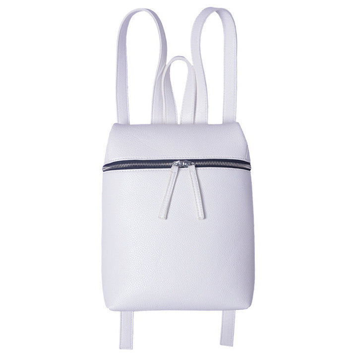 Women's White/Black PU Leather Small Backpack - Zorket