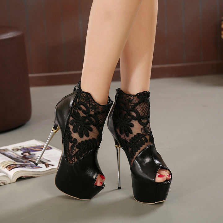 Summer Black / White High Heels Platform Pumps - Zorket