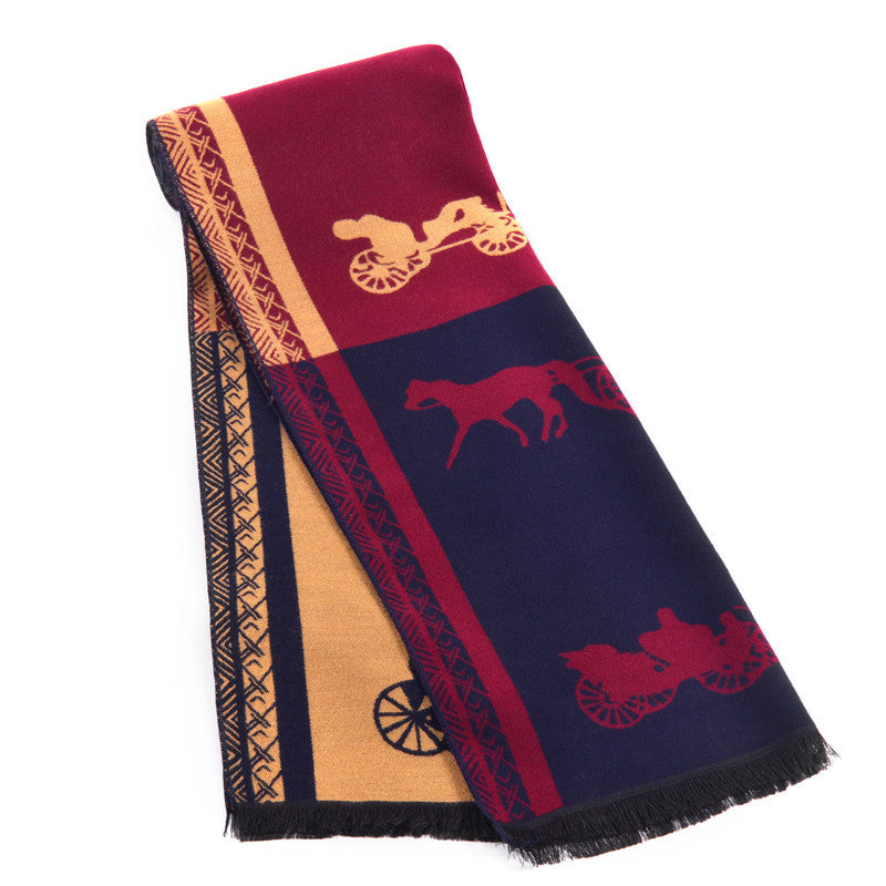Stylish Men's Scarf With  Picture Horse - Zorket