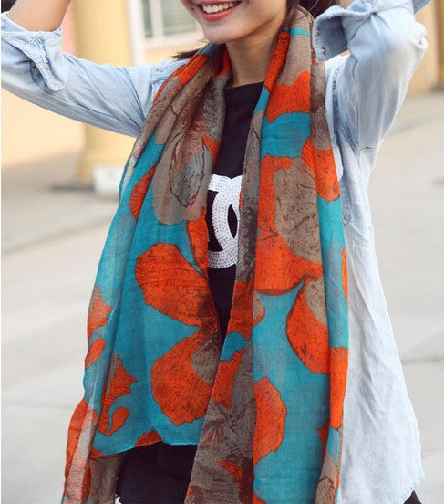 Winter Flower Printed Women's Cotton Scarf - Zorket