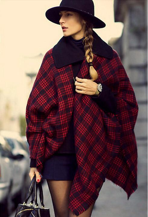 Women's Winter Red Plaid Warm Cashmere Scarf