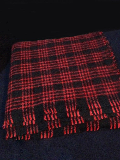 Woman's Winter Red Plaid Warm Cashmere Scarf - Zorket
