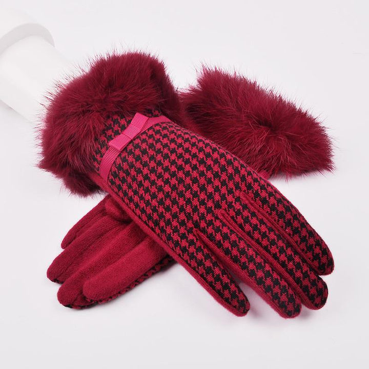 Winter High-Grade Cashmere  Women's Plaid Gloves