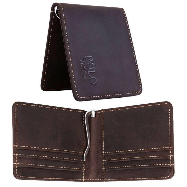 Solid Genuine Leather Men's Money Clip Wallet