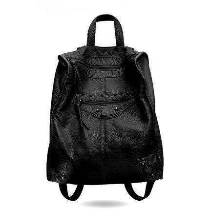 Backpack – Fashion Women's Soft PU Leather Black Backpack | Zorket