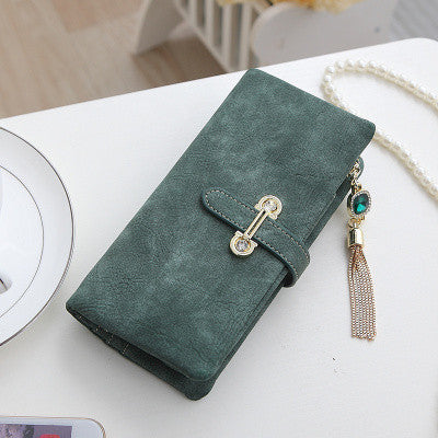 Women's Drawstring PU Leather Long Design Purse Wallet - Zorket