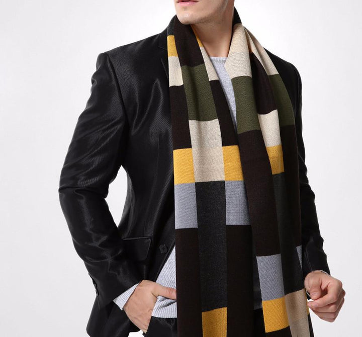 Stylish Winter Plaid Scarf For Men