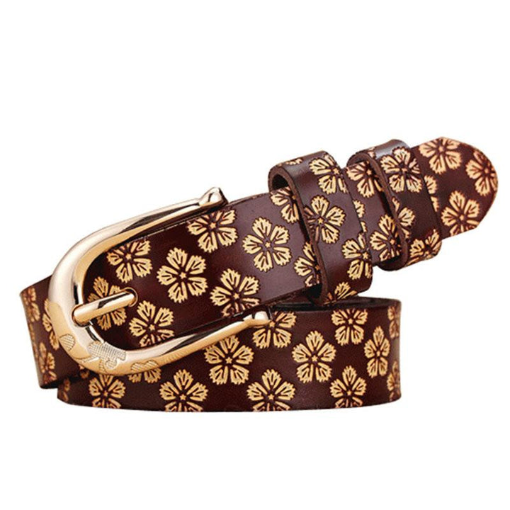 Women's Cow Genuine Leather Pin Buckle Vintage Floral Pattern Belt
