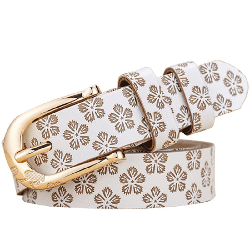 Women's Cow Genuine Leather Pin Buckle Vintage Floral Pattern Belt - Zorket
