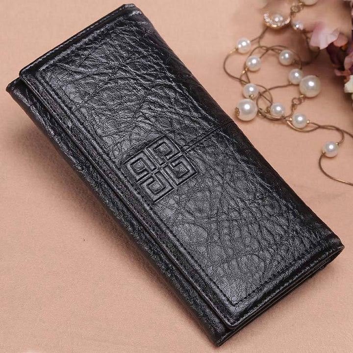 Women's Genuine Leather Vintage Long Wallet